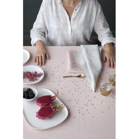 SET X2 SERVIETTES DE TABLE LINA BISCUIT POIS OR 40