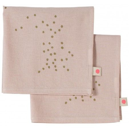SET X2 SERVIETTES DE TABLE LINA BISCUIT POIS OR 40