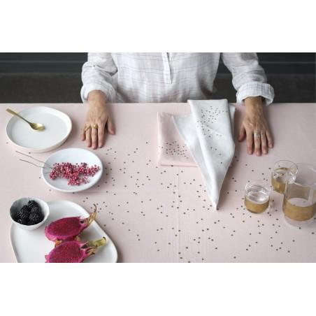 SET X2 SERVIETTES DE TABLE LINA CRAIE POIS OR 40