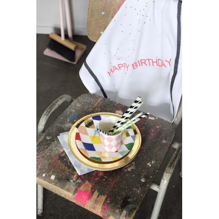 TORCHON HAPPY BIRTHDAY FLUO CORAIL