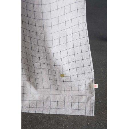 Curtain Light Grey Checkered 55 Linen 45 Cotton