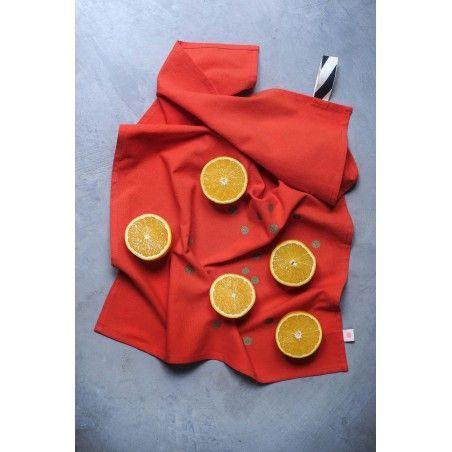 TEA TOWEL PAPRIKA GOLD DOTS