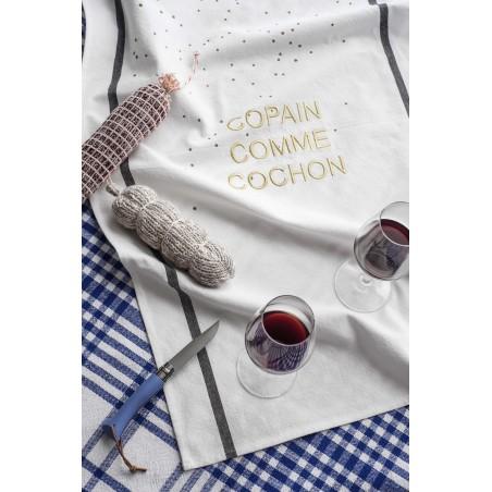 TEA TOWEL COPAIN COMME COCHON GOLD DOTS