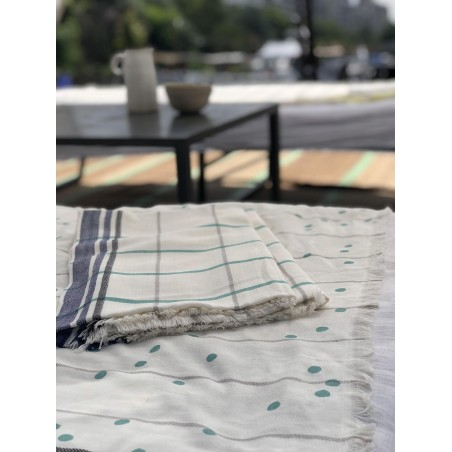 FOUTA CARREAUX INDIGO 170