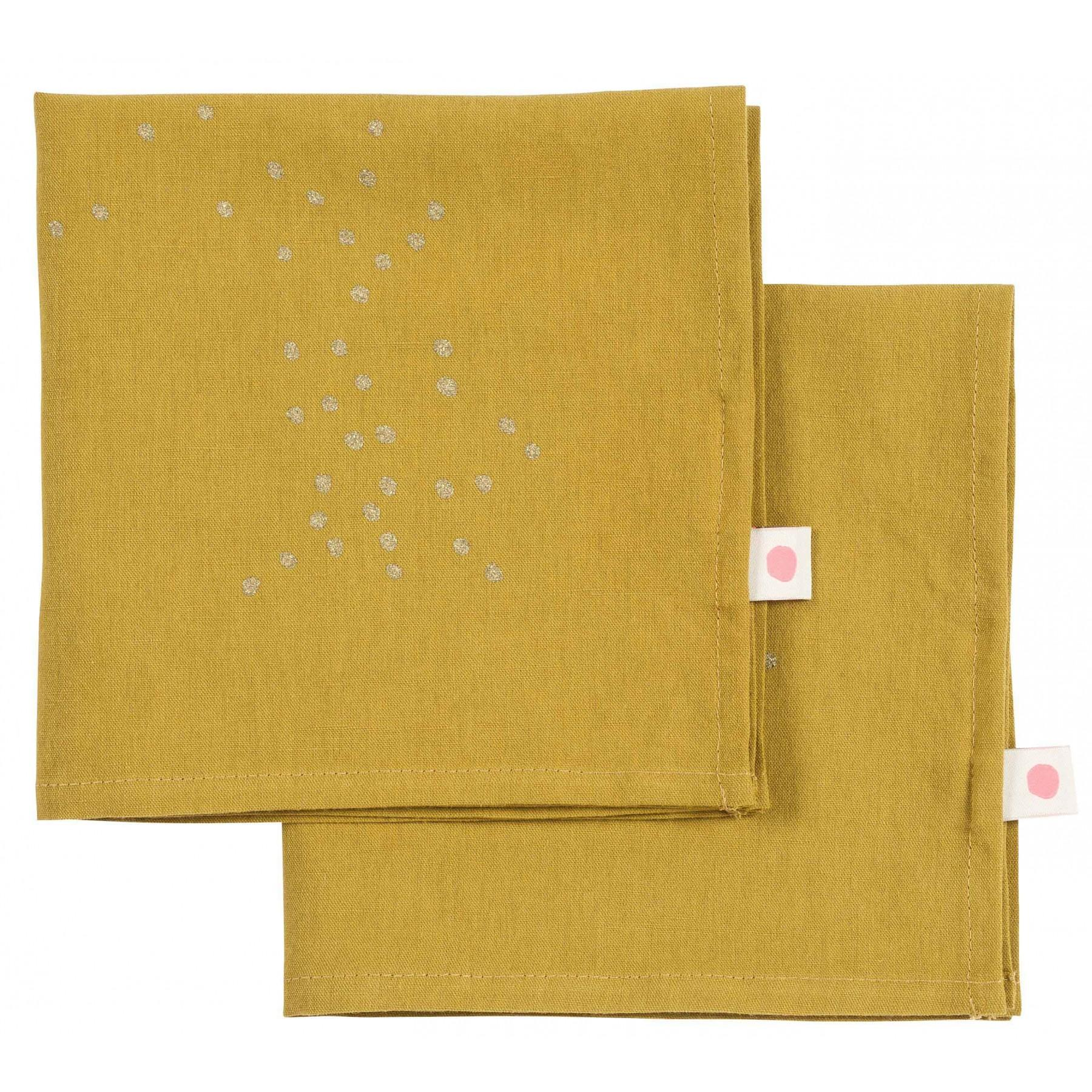 SET x2 NAPKINS LINA COLOMBO GOLD RAIN 40