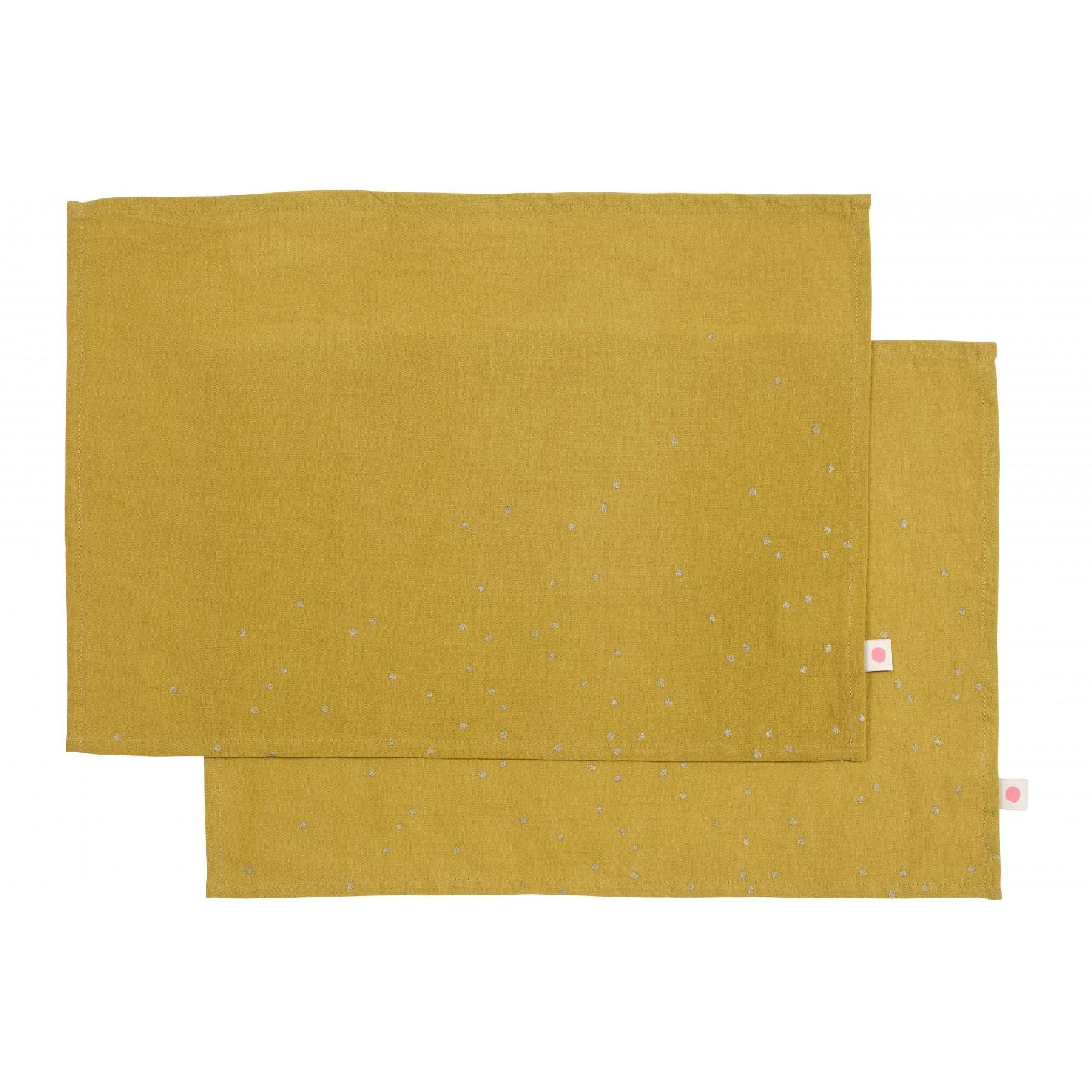 SET x2 PLACEMATS LINA COLOMBO GOLD RAIN