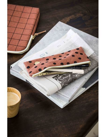 Product photo Pencil pouch Polka Rhubarbe